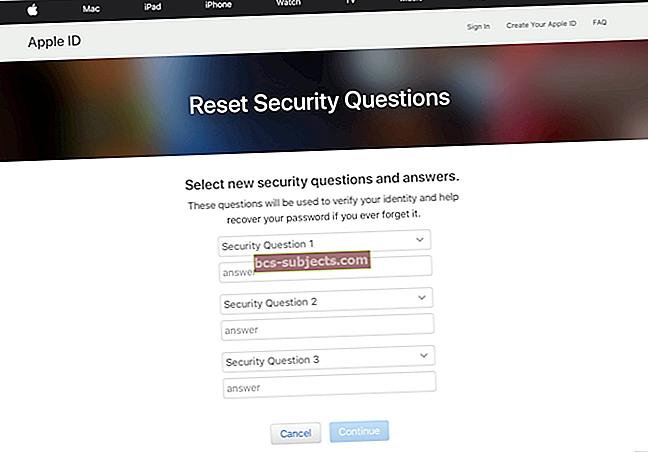 Como alterar as respostas às perguntas de segurança do Apple ID?